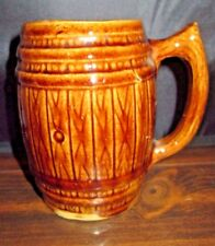 Vintage Root Beer Wood Barrel Ceramic Mug Brown