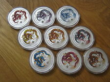 2012 AUSTRALIAN LUNAR YEAR OF THE DRAGON 1 oz SILVER 9 different COIN Set COLOR