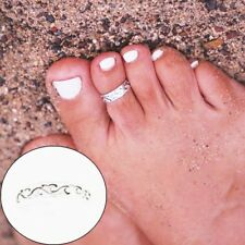 Elegant Women Lady 925 Sterling Silver Toe Ring Foot Adjustable Beach Jewelry TW
