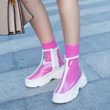 Women's Sneakers Clear Side Zip Platform Shoes Transparency Casual Ankle Boots