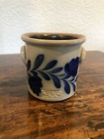 SALMON FALLS Stoneware Crock BOWL Flowers Salt Glazed Pottery 1998