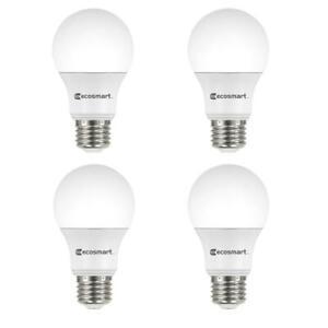 EcoSmart 100-Watt Equivalent A19 Non-Dimmable LED Light Bulb Daylight (4-Pack)