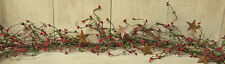 Pip Berry Garland with Rusty Stars - Red & Green