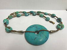 turquoise type necklace 20 in lg w/disc pendant bronze color beads