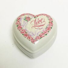 "VINTAGE HEART SHAPED WHITE,PINK FLOWERS,""LOVE"",RIBBONS PORCELAIN MUSIC BOX"