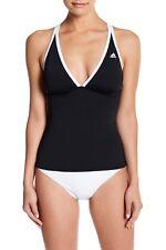 NEW Adidas Women's Piped Crossback Tankini Swimsuit Top Black Sz 10