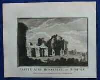 Original antique print CASTLE ACRE PRIORY, NORFOLK, Boswell, 1786