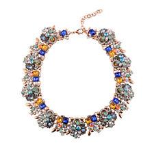 Luxus Halskette Ohrstecker bunt Ethno statement collier Strass Kristall