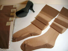 """3 Pair'S Silky Flat Knit Reinforced Foot Vintage Nylon Stockings 9 1/2"""" X 31�"""
