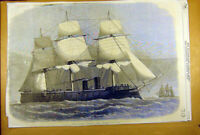 Original Old Antique Print 1869 Prussian Iron-Clad Ship Konig-Wilhelm Naval 19th