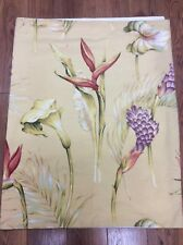 TROPICAL TABLECLOTH BUTTERCUP YELLOW FLORAL 31X47 LINED GREEN RED AQUA PALMS