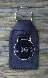 JEEP CLASSIC CAR KEY RING, BLACK LEATHER FOB.