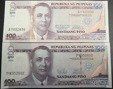 PHILIPPINES BANK NOTES 100 PESOS  2 NOTES  2010 & 2012 ISUED CUNC