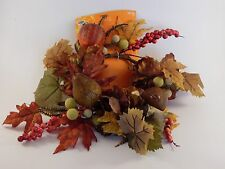 Fall Leaves Fruit Faux Feathers CANDLE RING Wreath AUTUMN HALLOWEEN DECORATION