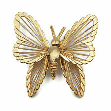 Work Wings Large Butterfly Brooch Pin Vintage Signed Monet Gold Tone Wire