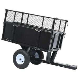 vidaXL Tipping Trailer for Lawn Tractor 150 kg Load Garden Dump Wheelbarrow