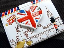 I Love London PVC Embossed ID Name Credit Business Card Holder Case Keeper White