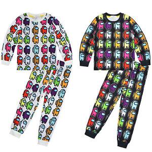 Junge Mädchen Nachtwäsche Langarm Pyjama Cartoons Nachtwäsche