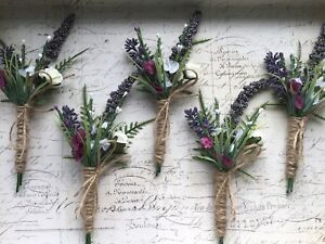 ARTIFICIAL LAVENDER  BUTTONHOLE  RUSTIC, HESSIAN VINTAGE WEDDING FLOWER X1