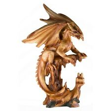 """Dragon With Castle Faux Carved Wood Look Figurine Statue 12.25"""" High Resin New!"""