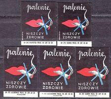 POLAND 1964 Matchbox Label - Cat.Z#511 set, Smoking, destroys health.