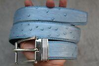 Tony Lama Western Mens Belt Leather Ostrich Double Stitch Print Stockman 9347L