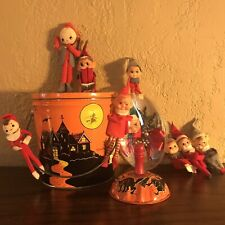 Vintage Halloween Pail Tin & Noisemaker and 9 Kitschy Elves For Your Shelf