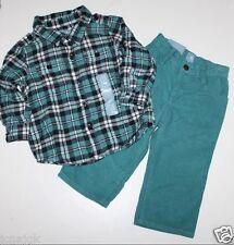 baby Gap Boy 18 24 Outfit Set Green Plaid Flannel Tab Sleeve Shirt Green Cords