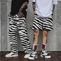 Unisex Men Women Zebra Striped Casual Baggy Hip-Hop Straight Trousers Dance Pant