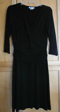 Dressbarn Slimming Black Shirred Side Faux Wrap Dress 3/4 Sleeves 10 Made in USA