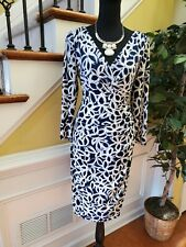 Lauren Ralph Lauren womens Dress Size 8 Faux Wrap 3/4 Sleeve Navy Blue White