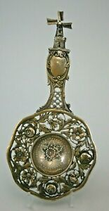 Large Ornate German 800 Silver Tea Strainer from the Early 1900's,