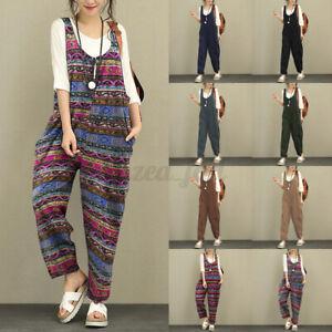 UK Women Hippie Dungarees Bib Overalls Baggy Sleeveless Harem Jumpsuit Plus Size