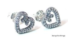 NEW! AUTHENTIC PANDORA SILVER EARRINGS HEART SWIRL STUDS #297099CZ HINGED BOX