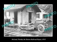 OLD LARGE HISTORIC PHOTO OF DeLAND FLORIDA, THE STETSON RAILROAD DEPOT c1915