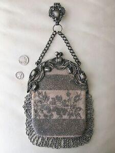 Antique Art Nouveau Floral Steel Micro Bead Chatelaine Belt Clip Kilt Purse NICE