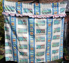 Vintage Designers Guild curtains.Blackout nursery 'Wagon Train' fabric. Trains.