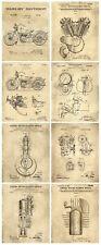 Harley Davidson Patent Wall Art Prints - Set of 8 Prints (8x10)