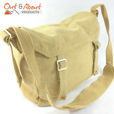 Heavy Duty Canvas Messenger Shoulder Bag Webbing Motorbike Camping KHAKI New