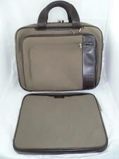 TUMI USED OLIVE GREEN CANVAS/LEATHER LAPTOP/BUSINESS PORTFOLIO/BRIEFCASE+SLEEVE