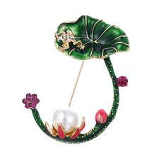 Emaille Lotus Flower Green Leaves Frosch Brosche Hemdkragen Pin Schmuck WG