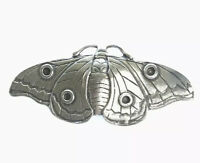 Vintage Large Silver Tone Pewter Moth / Butterfly Brooch Pin GIFT BOXED