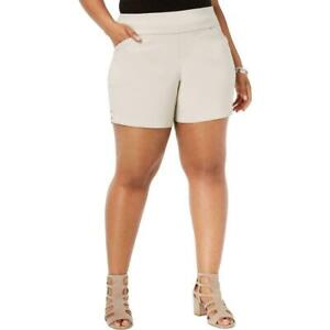 INC International Concepts Womens Pull-On Stretch Shorts Beige Plus Size 18W NWT
