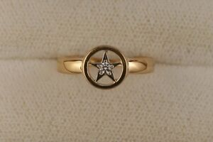 Ladies Lone Star Ring with Diamond 14kt Yellow Gold
