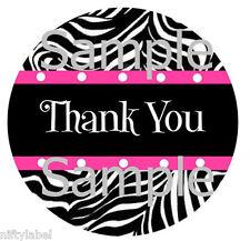 Black Zebra With Pink Trim Design 2 Thank You Sticker Labels Optional Sizes