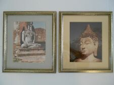 "Pr. of Buddha Statue Photograph Reproductions, Gold Resin Frames, 13"" x 15"""