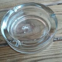 Vintage Clear Thick Cut Glass 1960s Cigarette Cigar Ashtray