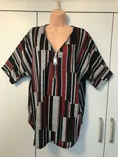 Women's Yours clothing grey & red abstract stripe zip neck loose top size 16 NEW