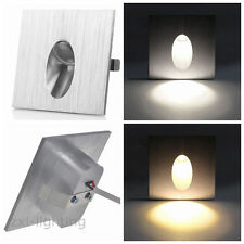 6x 1w Square LED Light Recessed Porch Pathway Step Stair Wall Walkway Warm 230v