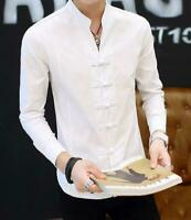 Chinese Style Men's Slim Fit Stand Collar Tops Casual Shirt long Sleeve Coat New